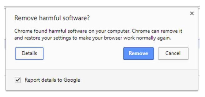 A screenshot of the Chrome pop-up that appears if Chrome Cleanup Tool detects malware on your Windows computer.